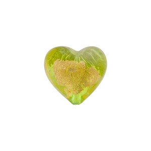 Peridot Gold Foil Heart Tosca 13mm, Murano Glass Bead