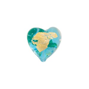 Aqua Gold Foil Heart Tosca 13mm, Murano Glass Bead
