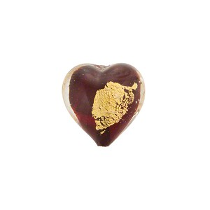 Ruby Red/Gold Foil Heart Tosca 13mm, Murano Glass Bead