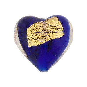 Cobalt Gold Splashes Tosca Hearts 20mm, Murano Glass Bead
