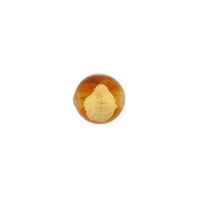 Tosca Murano Glass Bead, Light Topaz & Gold Foil Accents, Round, 8mm