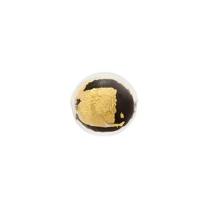 Black Gold Splashes Tosca Round 10mm, Murano Glass Bead