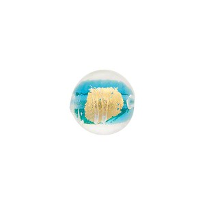 Aqua Gold Splashes Tosca Round 10mm, Murano Glass Bead