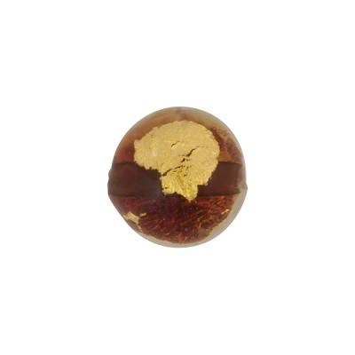 Topaz Tosca Gold Foil Round 12mm, Murano Glass Bead