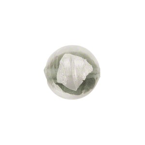 Tosca Silver Foil Round, 12mm Gray, Murano Glass Bead