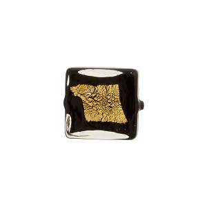 Murano Glass Bead Black Tosca Square Gold Splashes 12mm