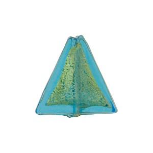 Aqua 24kt Gold Foil Triangle 16mm Murano Glass Bead