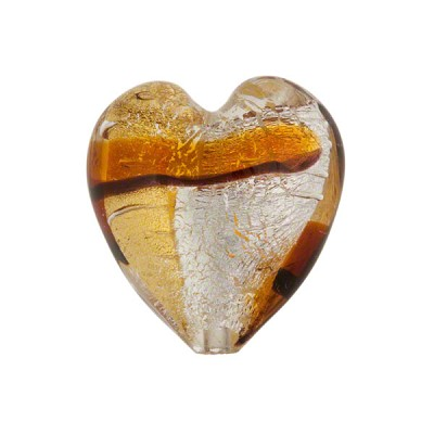 Tramonto Murano Glass Heart, Two Tone Topaz & Silver Foil, 21mm