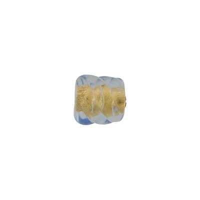 Light Blue Gold Foil Twist Murano Glass Bead 8mm