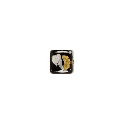 Murano Glass Cube Bead, 6mm, Gold & Silver Foil over Black