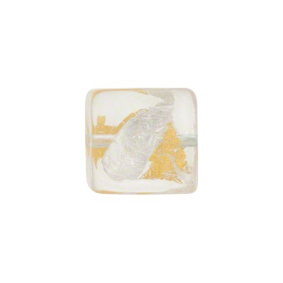 Vicenza Gold and Silver Foil Murano Glass Bead, Cube, 12mm