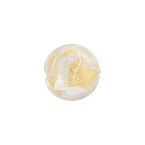 Murano Glass Bead, Disc 12mm, Crystal w/Gold and Silver Foil