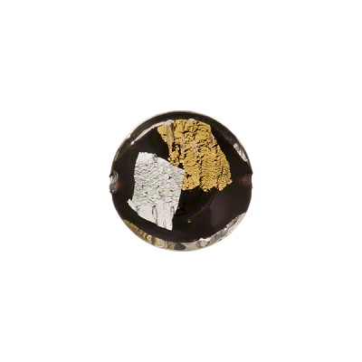 Vicenza Venetian Glass Disc Bead, 12mm, Black w/Gold & Silver Foil