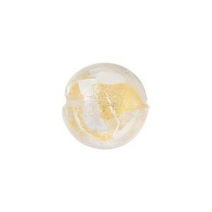24kt Gold Foil & Silver Foil over Clear Murano Glass Lentil Bead, 14mm