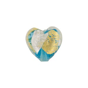 Aqua Gold/Silver Splashes Vicenza Heart 12mm