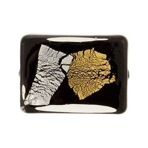 Vicenza Abstract Gold & Silver Foil Murano Glass Bead, Rectangle, 22mm