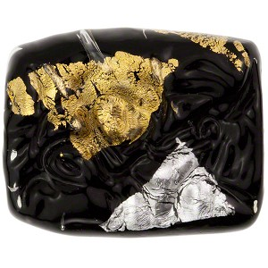 Black Vicenza Large Silver/Gold Rectangle, Murano Glass Bead
