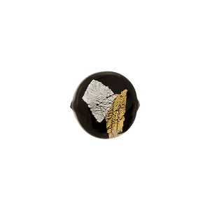Vicenza Round Bead, 10mm, Black w/Gold & Silver Foil, Murano Glass Bead