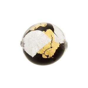 Gold Silver Cristallo Vicenza 16mm Round, Black, Murano Glass Bead
