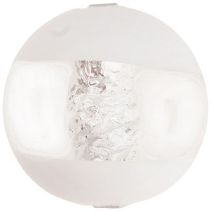 Murano Glass Window Bead, Opaque White & Silver Foil, Round 16mm