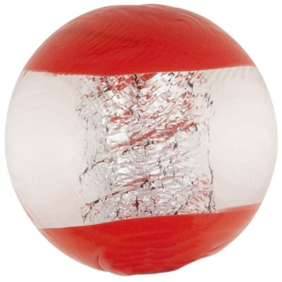 Finestra Murano Glass Round Bead, Opaque Red & Silver Foil, 16mm