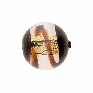 Chocolate Gold Foil Window Spiral Round 16mm, Murano Glass Bead