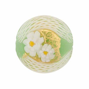 Venetian Bead Zanfirico Disc 20mm Exterior Gold, Opal Green