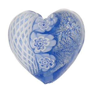 25mm Heart Shaped Murano Glass Bead, Blue w/Millefiori & White Gold
