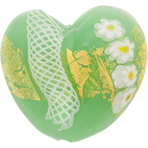 Venetian Gold Foil Zanfirico Daisy Heart 35mm Flat Oplal Green