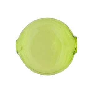 Murano Glass Bead, Mouth Blown Peridot Green Solid Color Penny,20mm