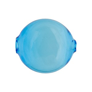 Murano Glass Bead Mouth Blown Aqua Solid Color Penny, 20mm
