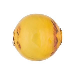 Murano Glass Bead Topaz Solid Color Blown Round 20mm