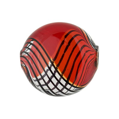 Red with Black Lines Bicolor Blown Lentil Bead