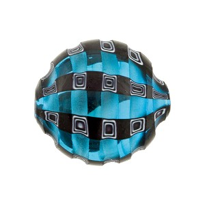 Murano Glass Bead, Mouth Blown Aqua, and Black Mosaic Sculpted 20mm Penny
