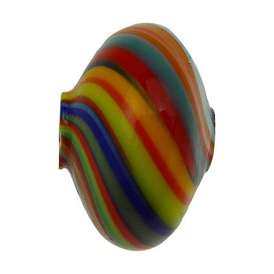 Murano Glass Bead Mouth Blown Carnevale Colors Cipollina 20mm