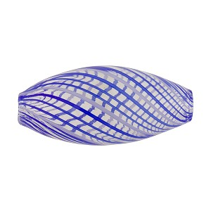 Blue and White Lines Blown Oval Murano Glass Bead