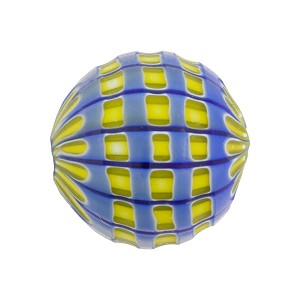 Blue & Yellow Mosaic Sculpted 20mm Round Blown