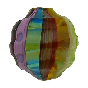 Multi Pastels Sculpted 20mm Round Mouth Blown Murano Glass Bead
