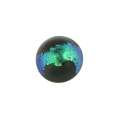 Teal and Black Dichroic Murano Glass Bead, Cabochon Round, 12mm