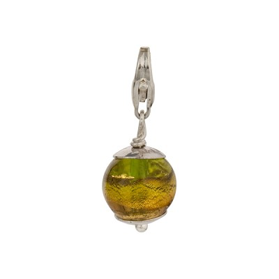 Green and Amethyst with Exterior Gold Foil Murano Glass Bead Silver Charm andTrigger Clasp