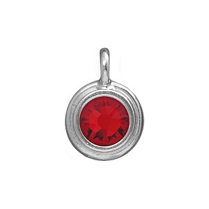 Ruby Swarovski Crystal July Birthstone Charm Rhodium Plated Pewter