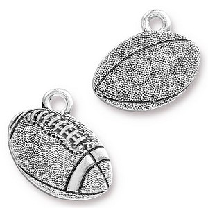 TierraCast Football Charm, Antique Silver Plated Pewter