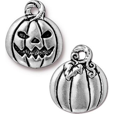 Jack o'Lantern Charm, Antiqued Silver Pewter, TierraCast