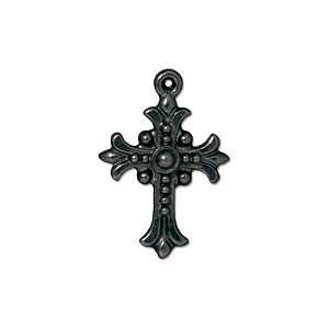 TierraCast Charm, Fleur Cross Black Tone Pewter