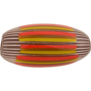 Maroon Yellow and Orange Murano Glass Chevron Bead Oval, 40mm