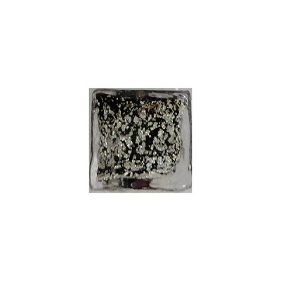 Black White Gold Foil Ca'd'Oro Cube 10mm Murano Glass Bead