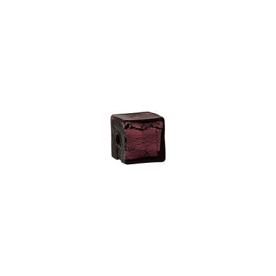 Dark Amethyst Silver Foil Cube 6mm, Murano Glass Bead