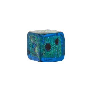 Leopard Cube Gold Foil 14mm, Aqua with Black Dots Murano Glass Beads