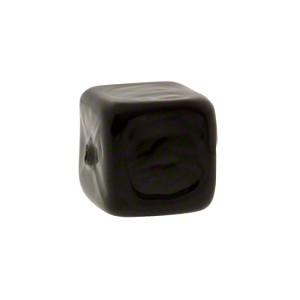 Murano Glass Solid Color Cube, 6mm, Opaque Black