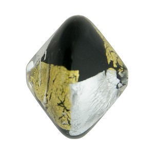 Vicenza Opaque Black w/Gold Foil Murano Glass Bead, 20mm Bicone